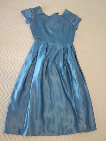 vintage 1950s 1960s blue satin dress
