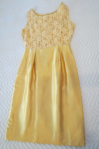 1960s vintage gold satin and lace dress