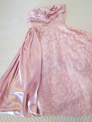 1950s vintage strapless dress satin and lace pink