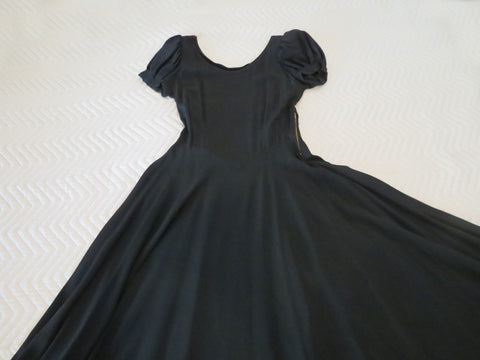 1930s rayon crepe black evening gown with long full skirt