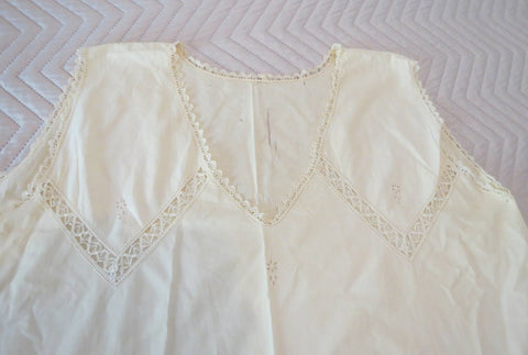 vintage 1920s nightgown with lace and eyelet embroidery
