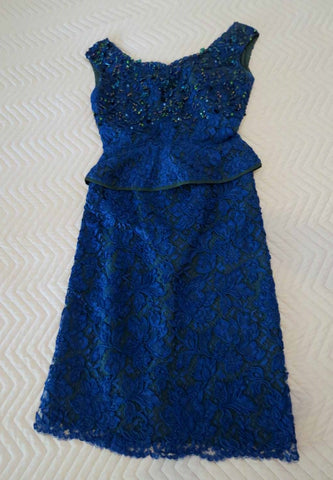 1960s vintage blue alencon lace three piece dress with beading and cummerbund