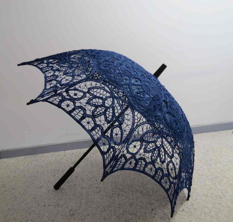 blue battenberg lace parasol umbrella