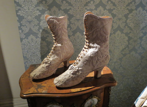 victorian wedding boots embroidered
