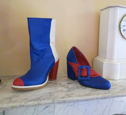 vintage shoes 1960s 1970s red and blue