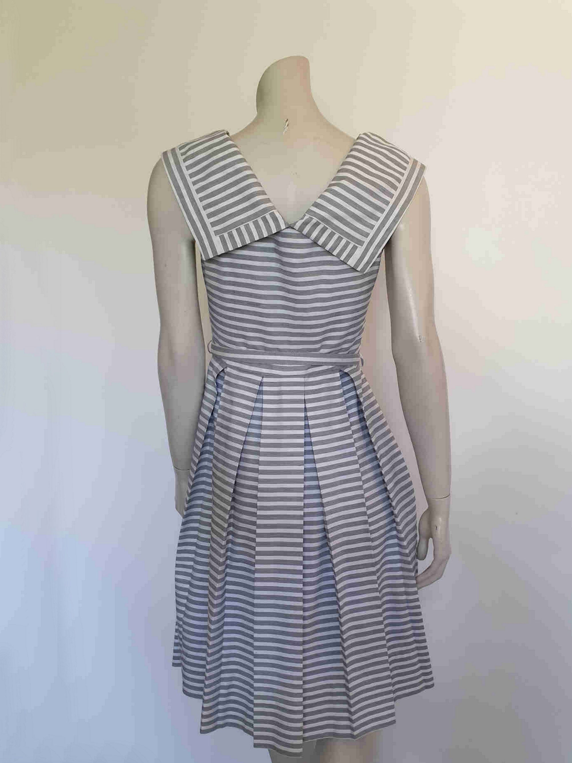 1960s vintage dress with portrait collar and box pleated skirt by leroy