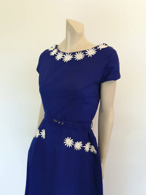 1960s vintage royal blue dress with daisy trim