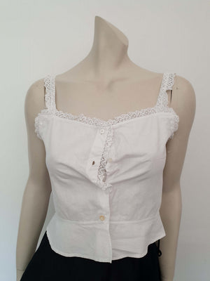 antique vintage edwardian corset cover camisole with handmade bobbin lace