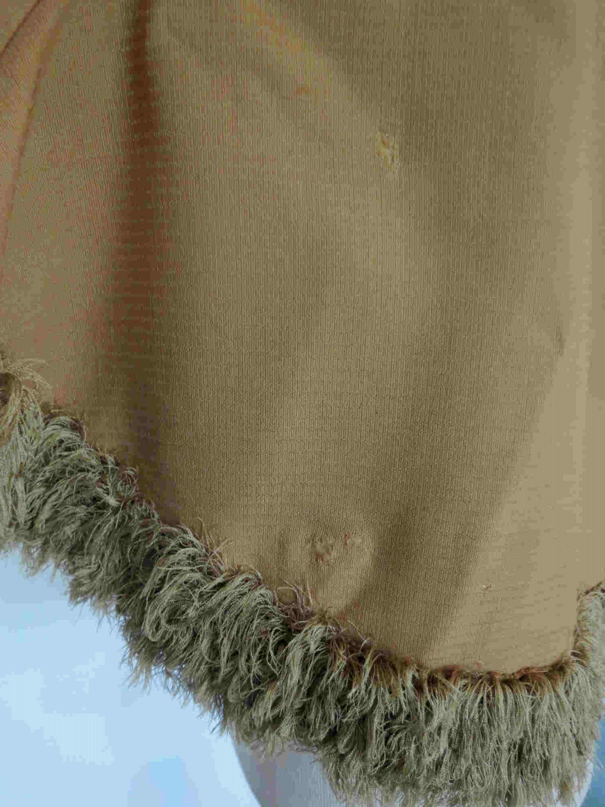 antique victorian tan silk mantle with fringe