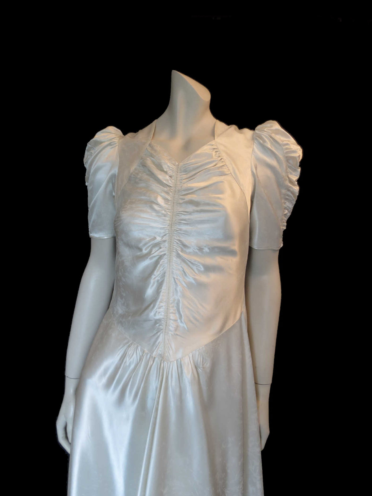 1940s vintage satin wedding dress bridal with puffy sleeves ruched bodice