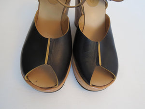 1970s vintage peep toe platform wedge shoes by Miss Jacq