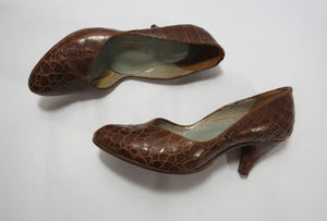 vintage 1940s shoes brown crocodile skin pumps heels AU US 7 EU 37.5