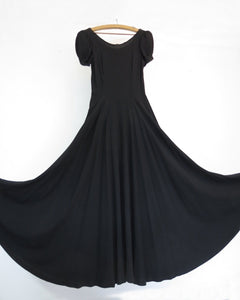 vintage 1930s black crepe evening dress formal dress extra long