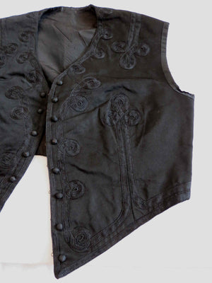 antique victorian edwardian womans cropped waistcoat with soutache trim black silk