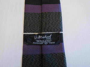 Grey & Purple Square Blade Skinny Tie - 1960s