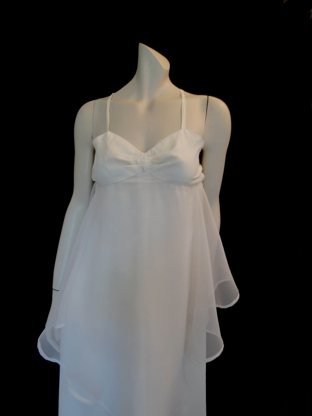 Ivory Chiffon Evening Gown With Handkerchief Layer - 1970s - Bust 86 cm