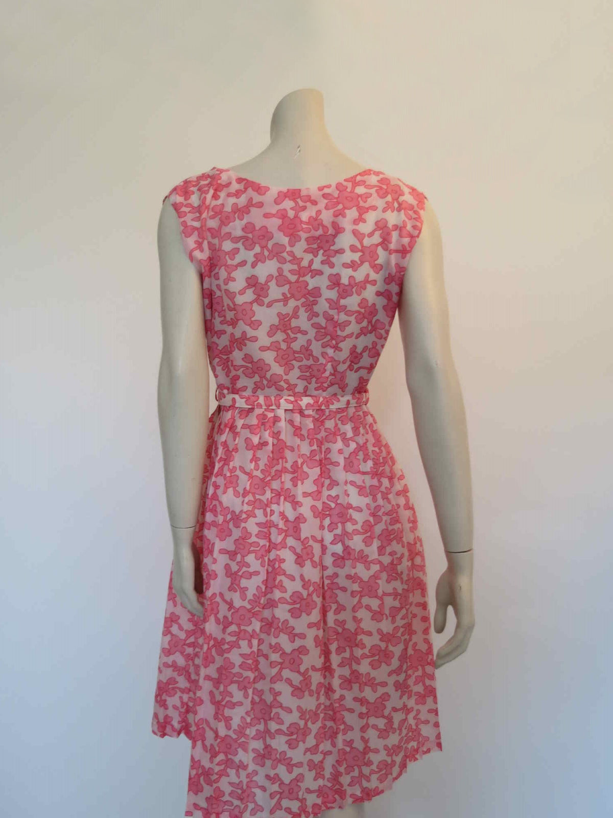 1950s vintage dress pink floral with pleated skirt  by house of tanner