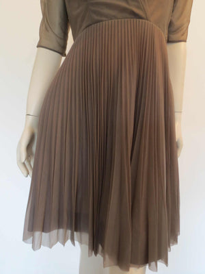 brown nylon dress with pleated skirt by Lucas 1950s 1960s