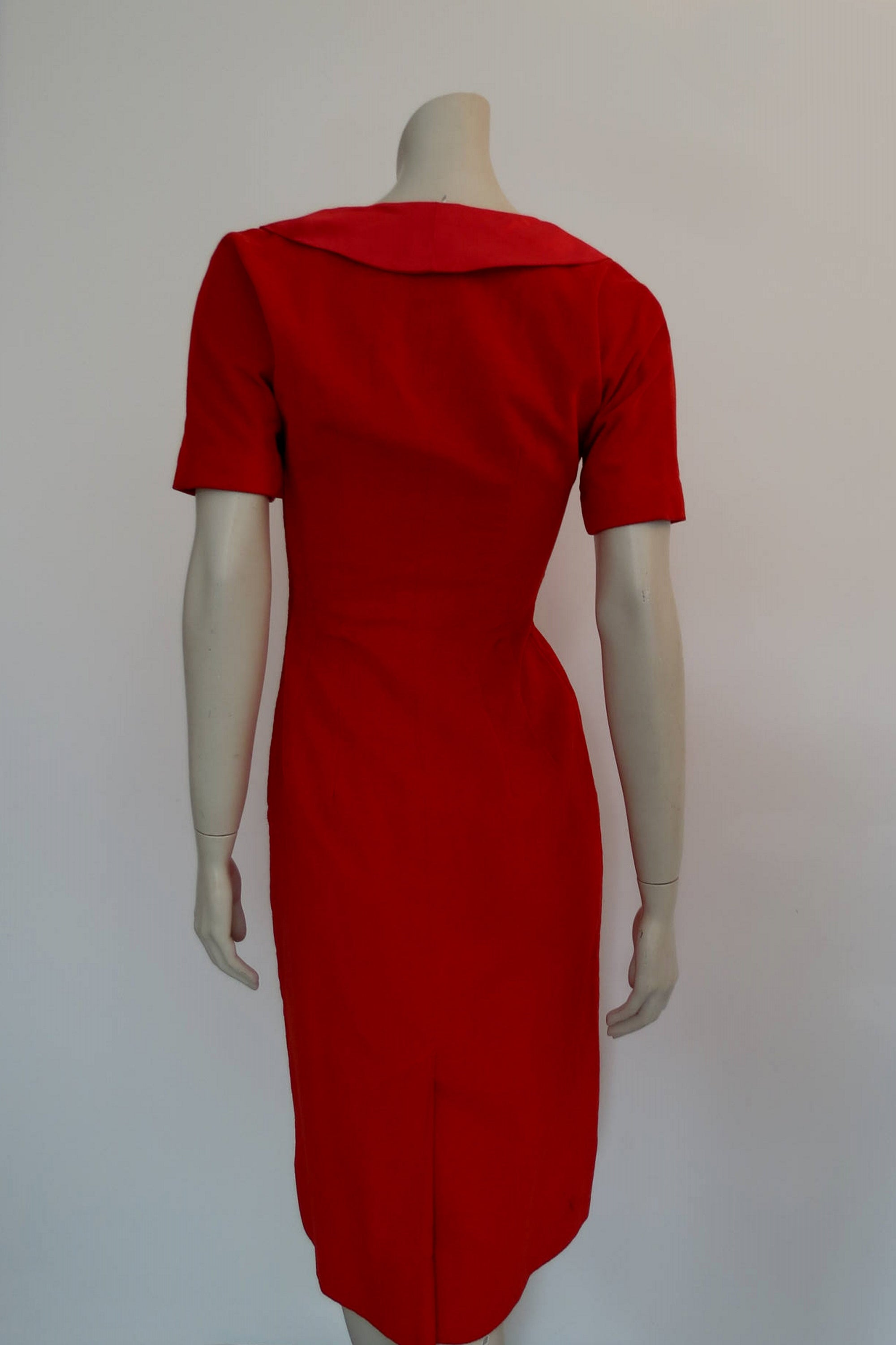 1950s vintage red uncut corduroy wiggle dress