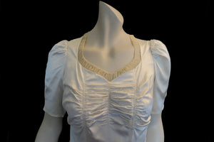 1940s vintage rayon satin wedding dress with ruched bodice and bow trim