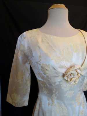 vintage 1960s damask wedding dress and bolero cream