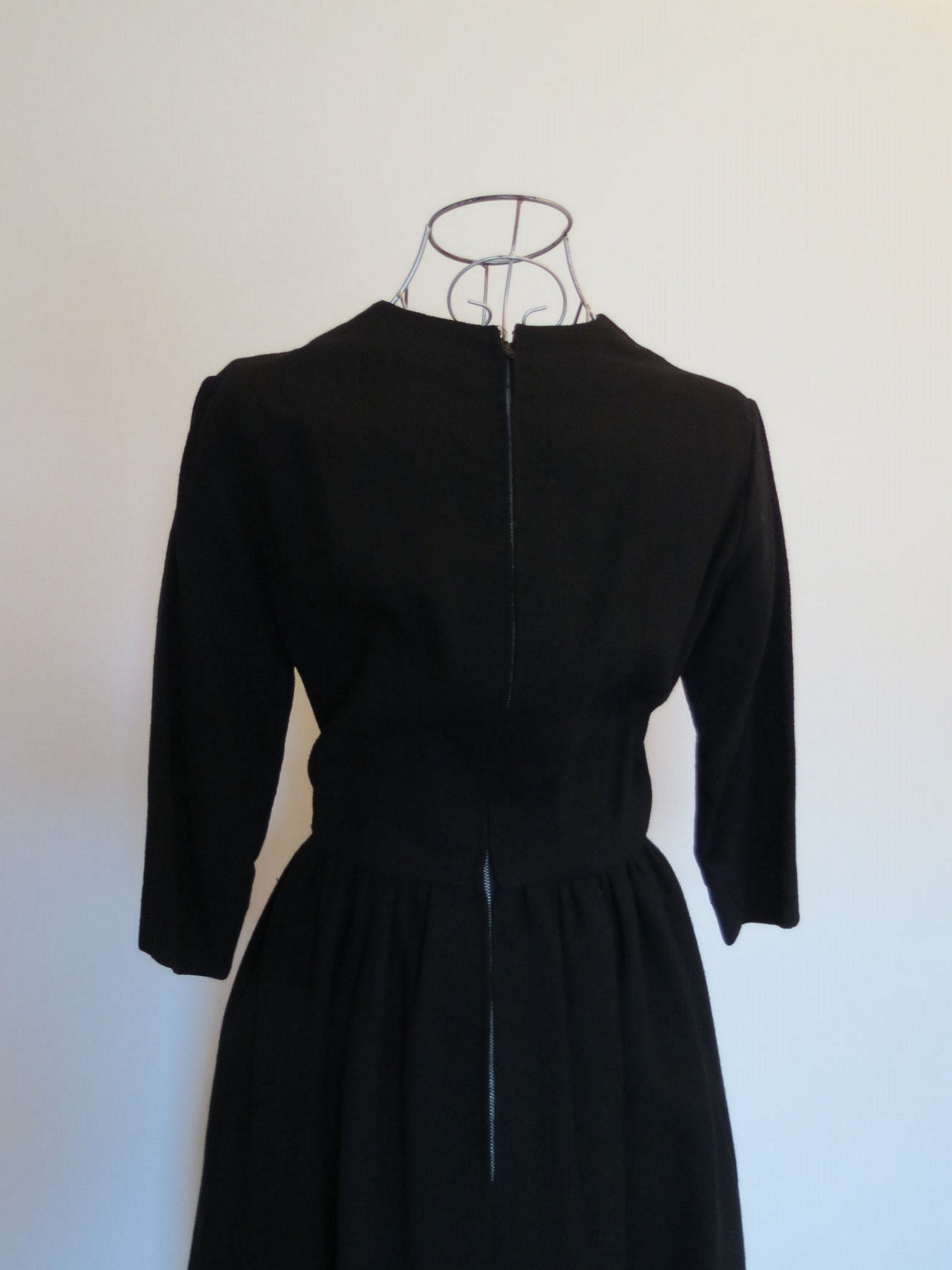 1960s vintage black wool crepe cocktail dress