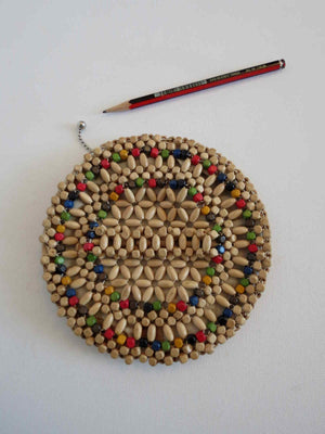 1930s vintage wooden beaded circular dance purse with finger strap czech