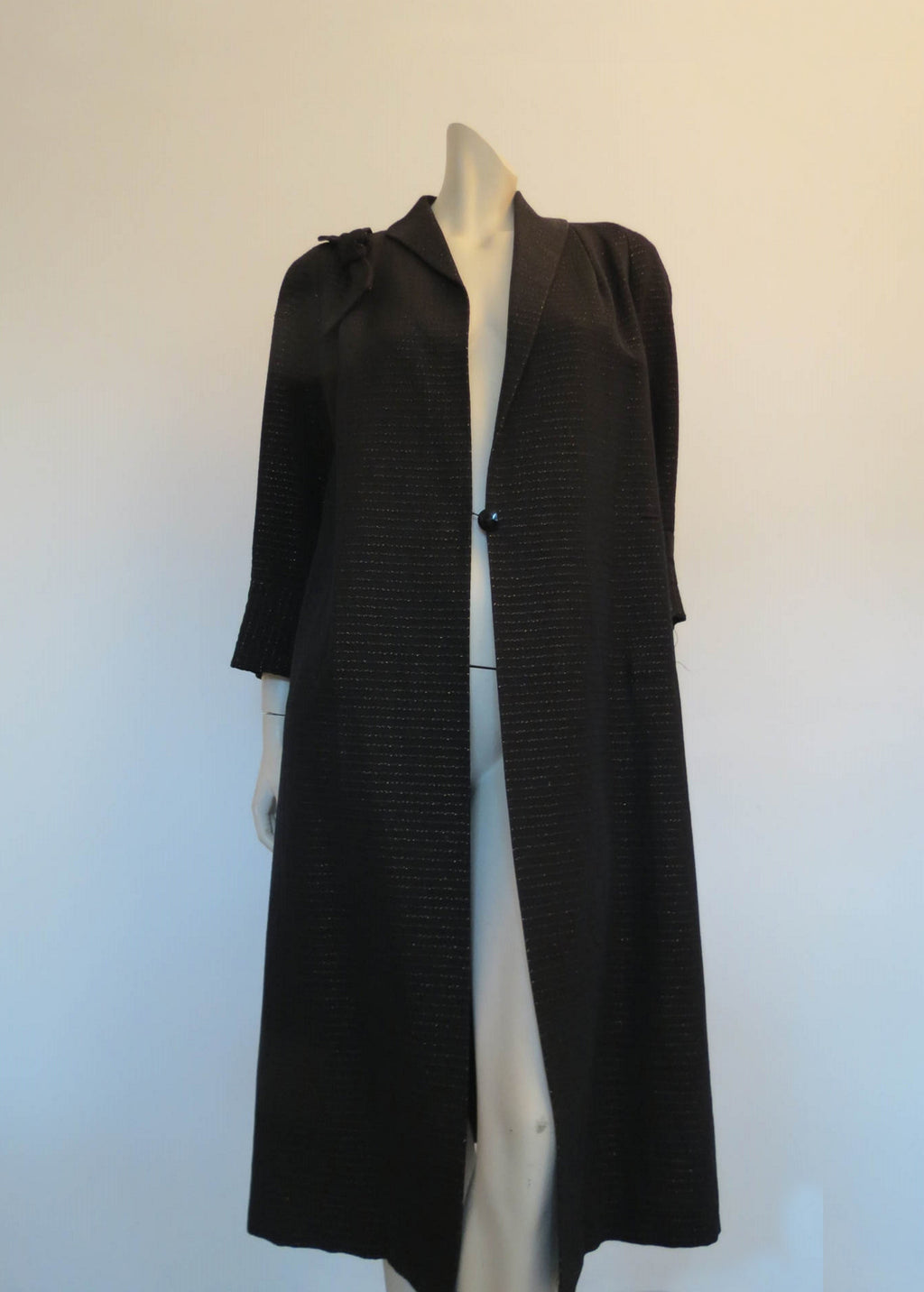 1950s vintage evening coat black wool and gold lurex by leon cutler