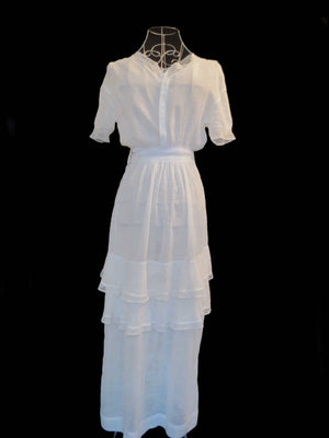 antique vintage edwardian muslin dress gown bridal with ruffles