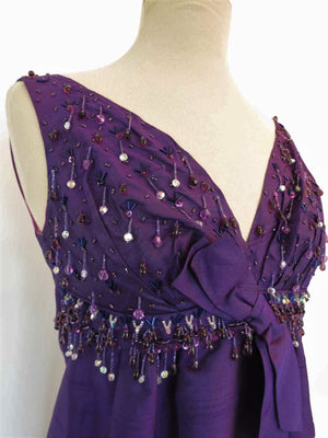 CLEARANCE - Beaded Purple Silk Shantung Vintage Evening Gown - 1960s Vintage - Bust 86 cm