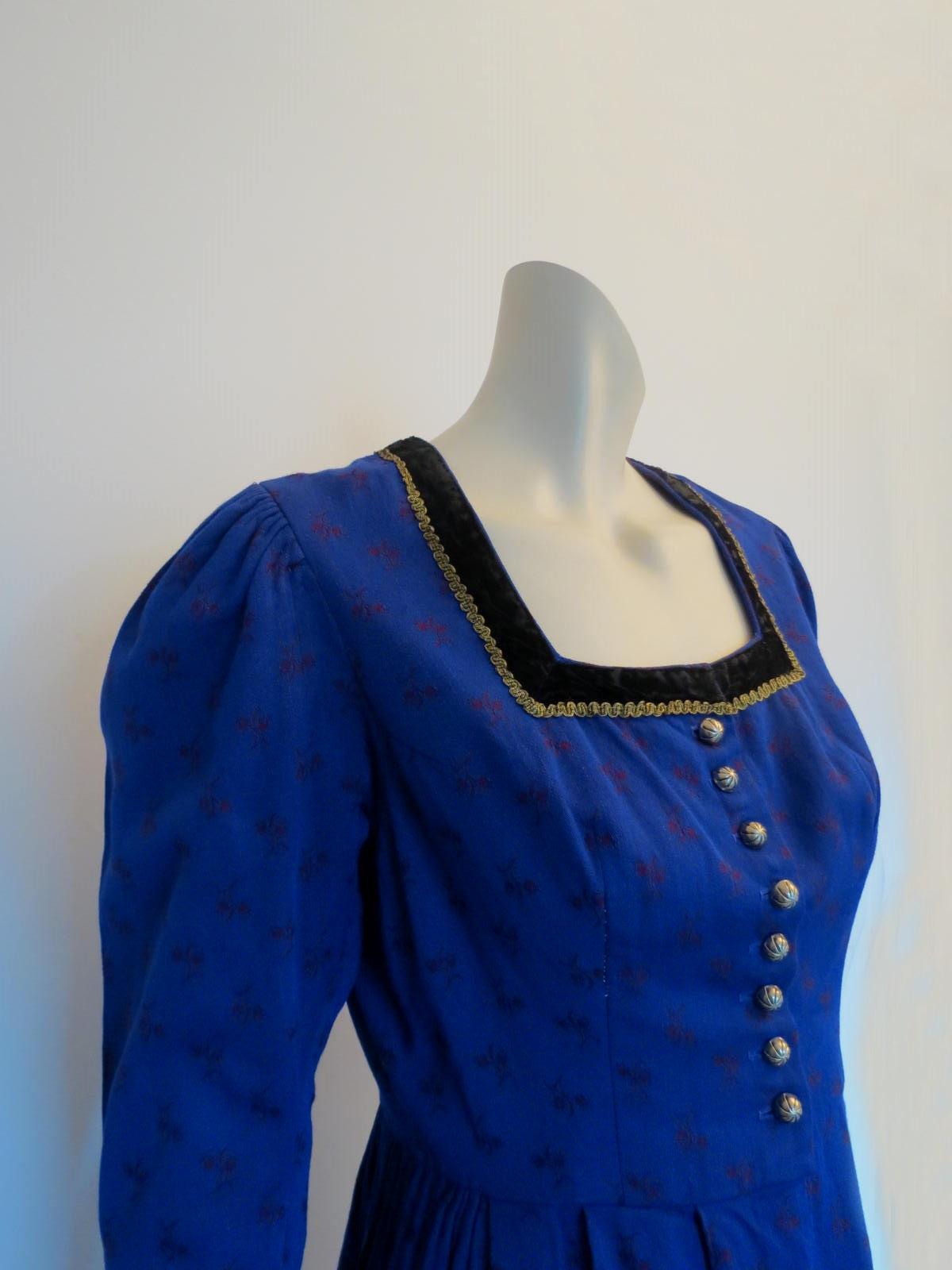 blue winter dirndl vintage austrian folk dress