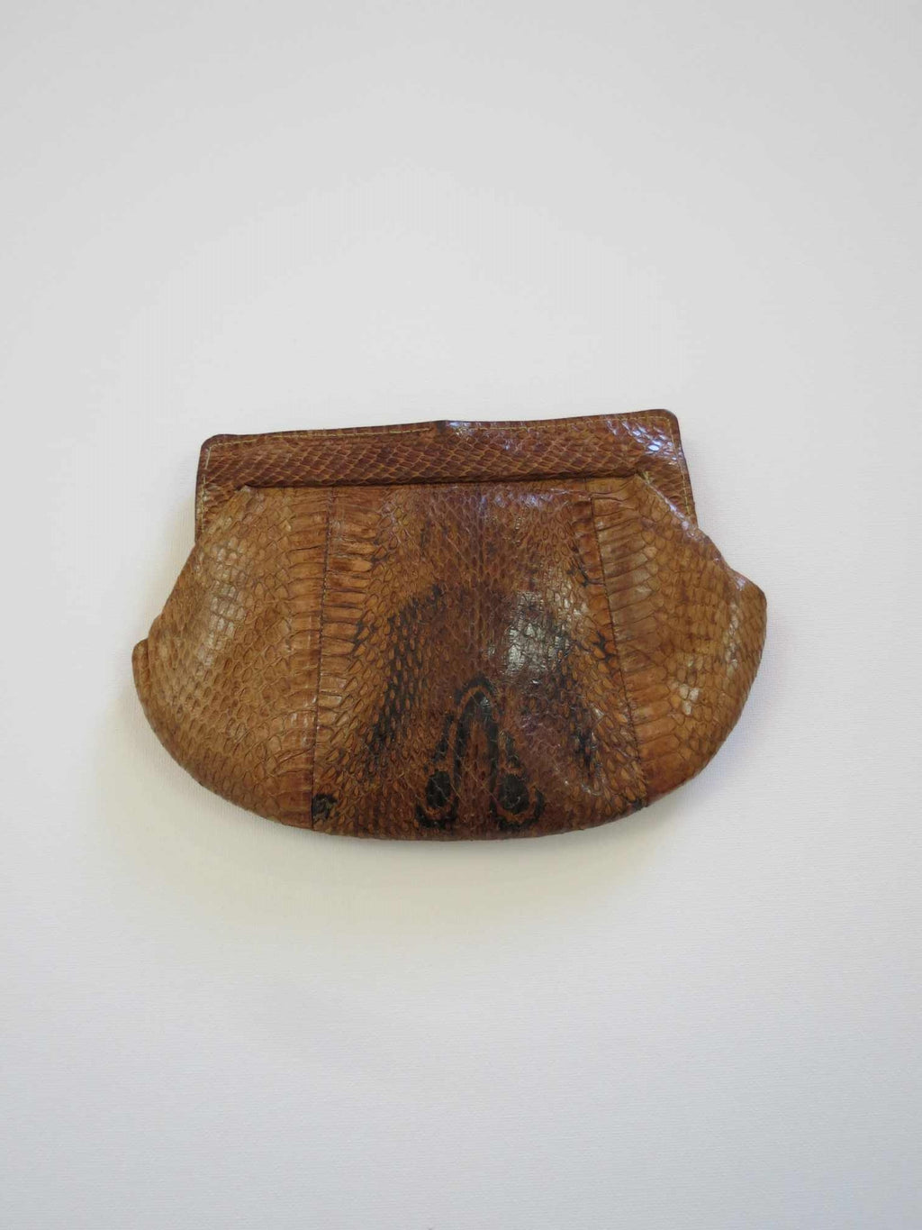 vintage brown snake skin purse or clutch bag 1950s 1960s