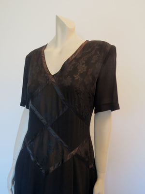 Black Maxi Dress With Brocade Bodice by Sally Browne - 1980s - Bust 89 cm