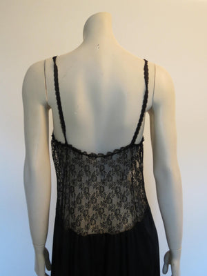 long black vintage nightgown lace and pearls trim by kayser