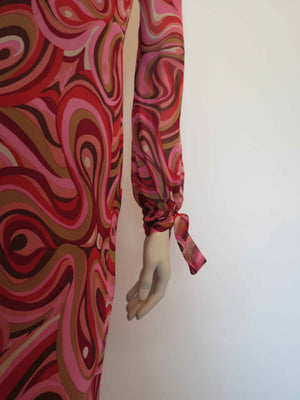 vintage designer jerome l'huillier pink abstract print chiffon dress