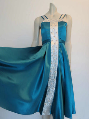 vintage teal green satin ballroom dancing dress with silver and pearl trim