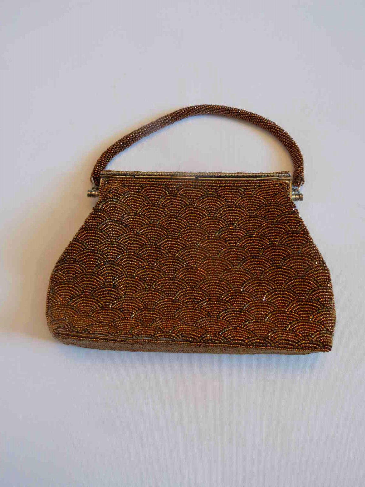 Art Deco Style Copper Beaded Evening Bag - 1960s