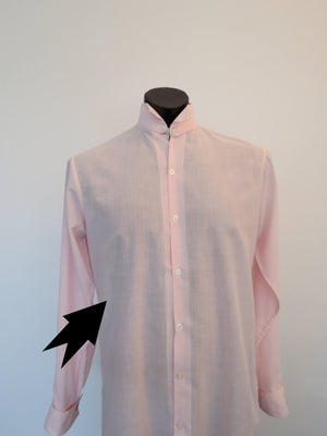 Pink Dress Shirt With Detachable Wing Tip Collar - 1970s - Chest 101 cm