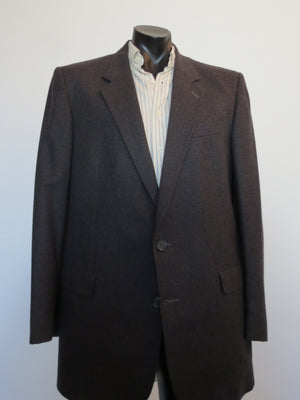 1980s 1990s vintage retro charcoal grey pinstriped wool jacket by tres bon