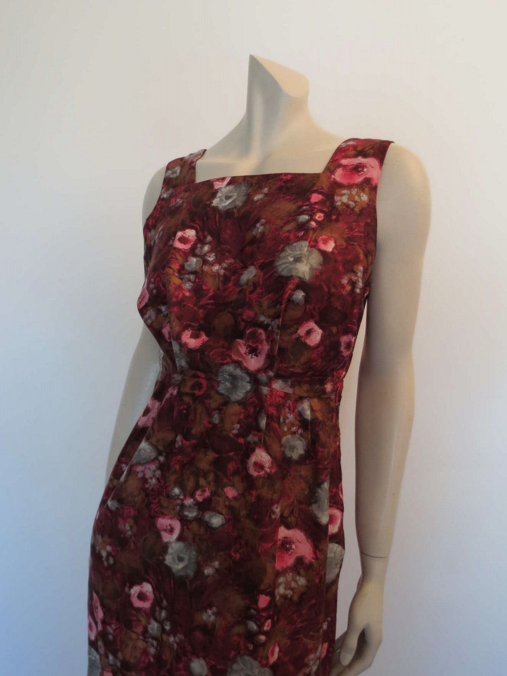 1960s vintage pink brown floral cotton dress by audrey middleton