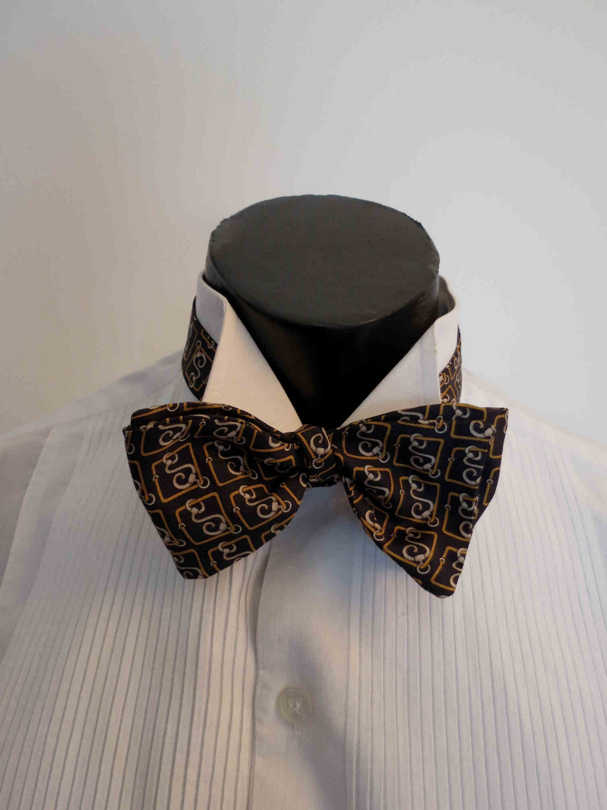 vintage silk surrealist print self tie bow tie