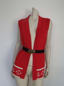 1970s vintage long red knit nautical vest by javonne