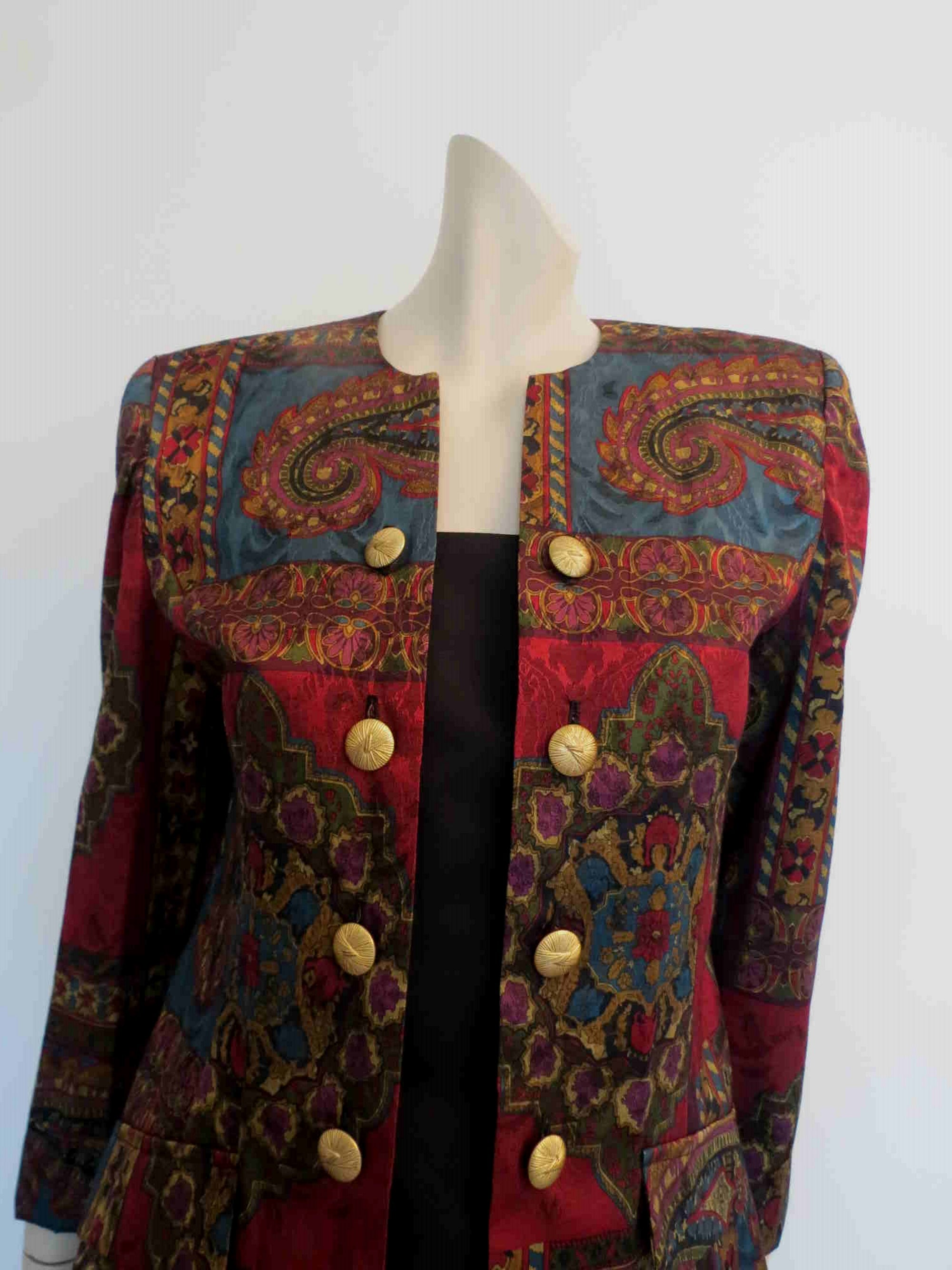 1980s vintage paisley double breasted jacket by leslie fay