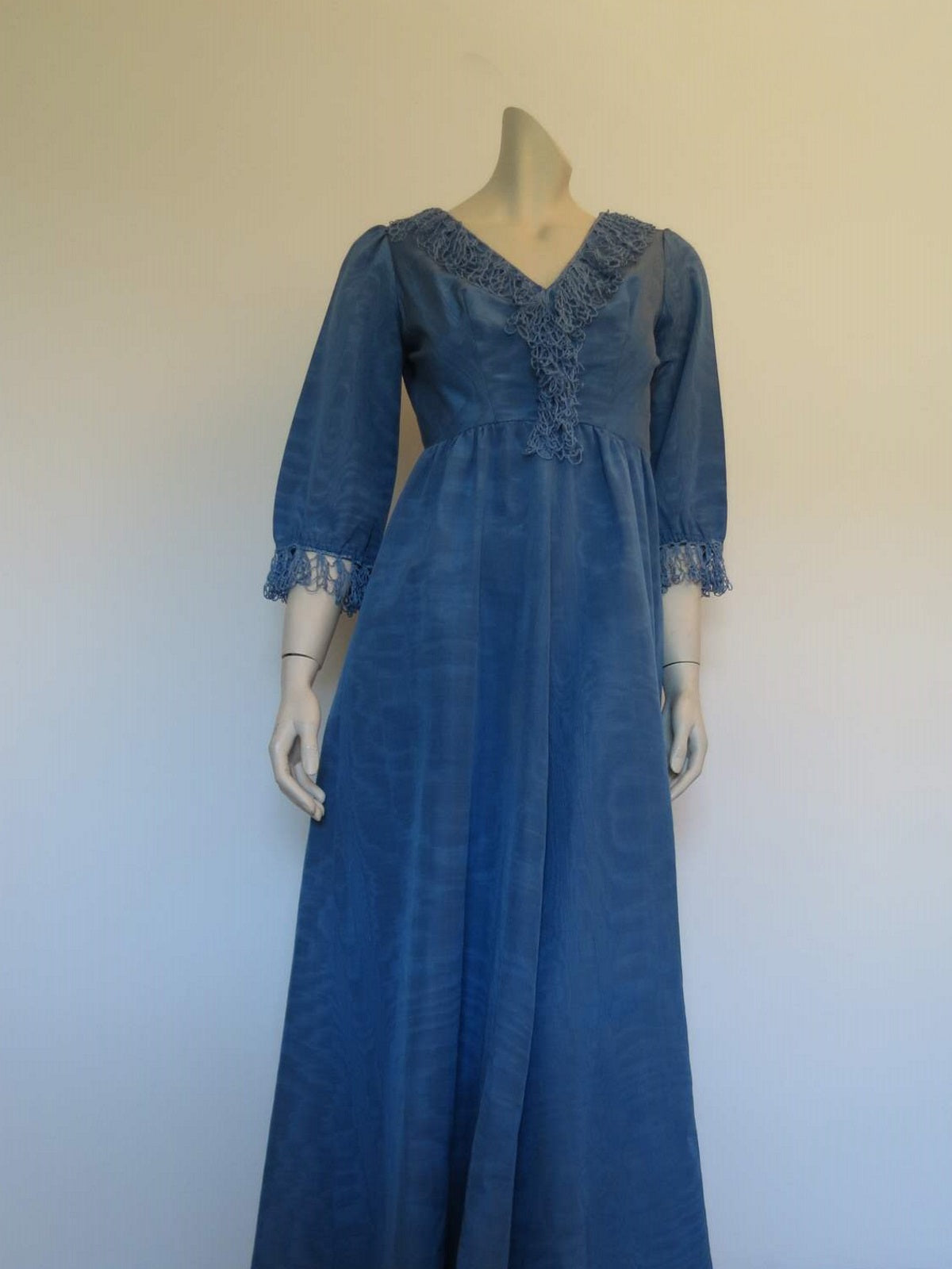 blue watered silk moire grosgrain evening dress long sleeves crochet trim vintage 1960s 1970s
