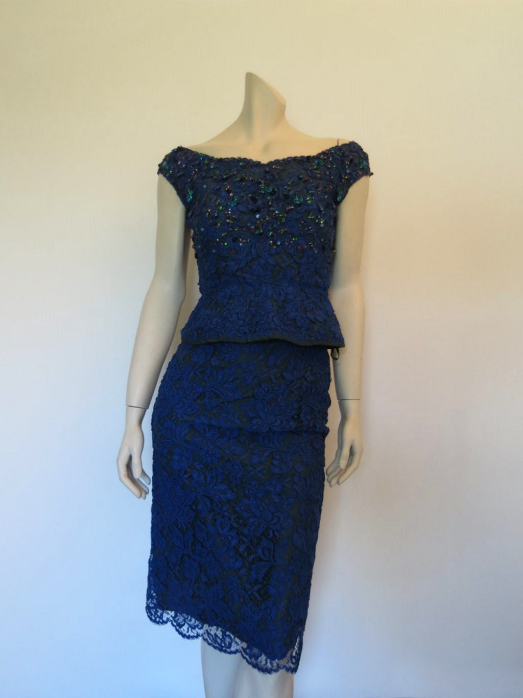 vintage 1960s blue lace cocktail dress with cummerbund and beading