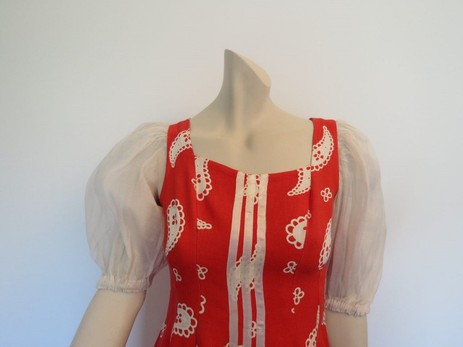 vintage 1950s style dirndl red  paisley dress with white puffy organdy sleeves
