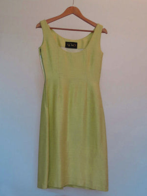 1960s vintage yellow green dress with beaded pocket by decor