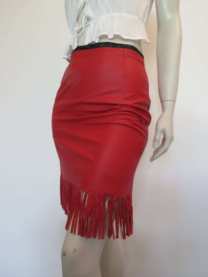 Fringed red leather mini skirt by third millenium