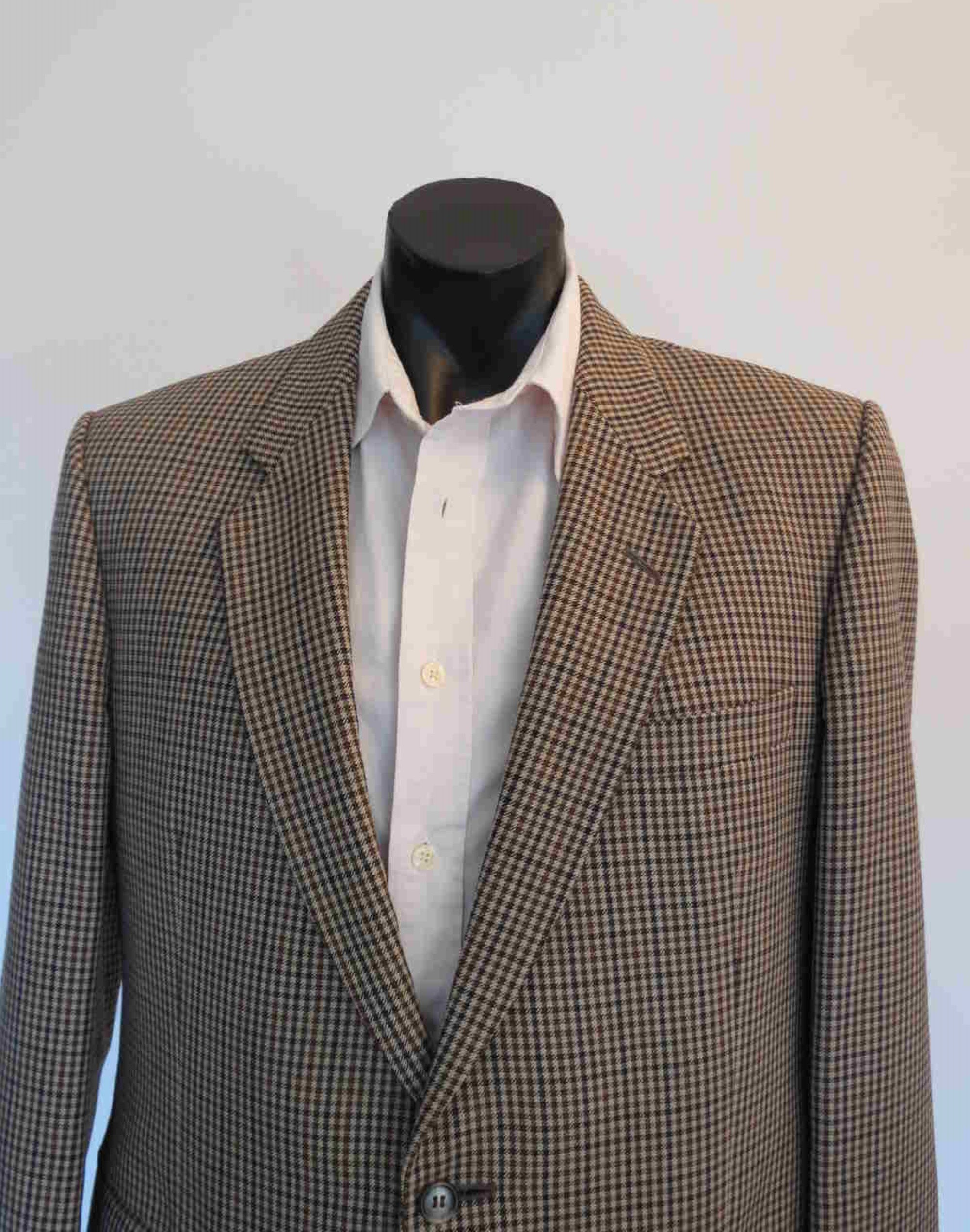 1980s vintage brown check checked jacket by st michael pure wool