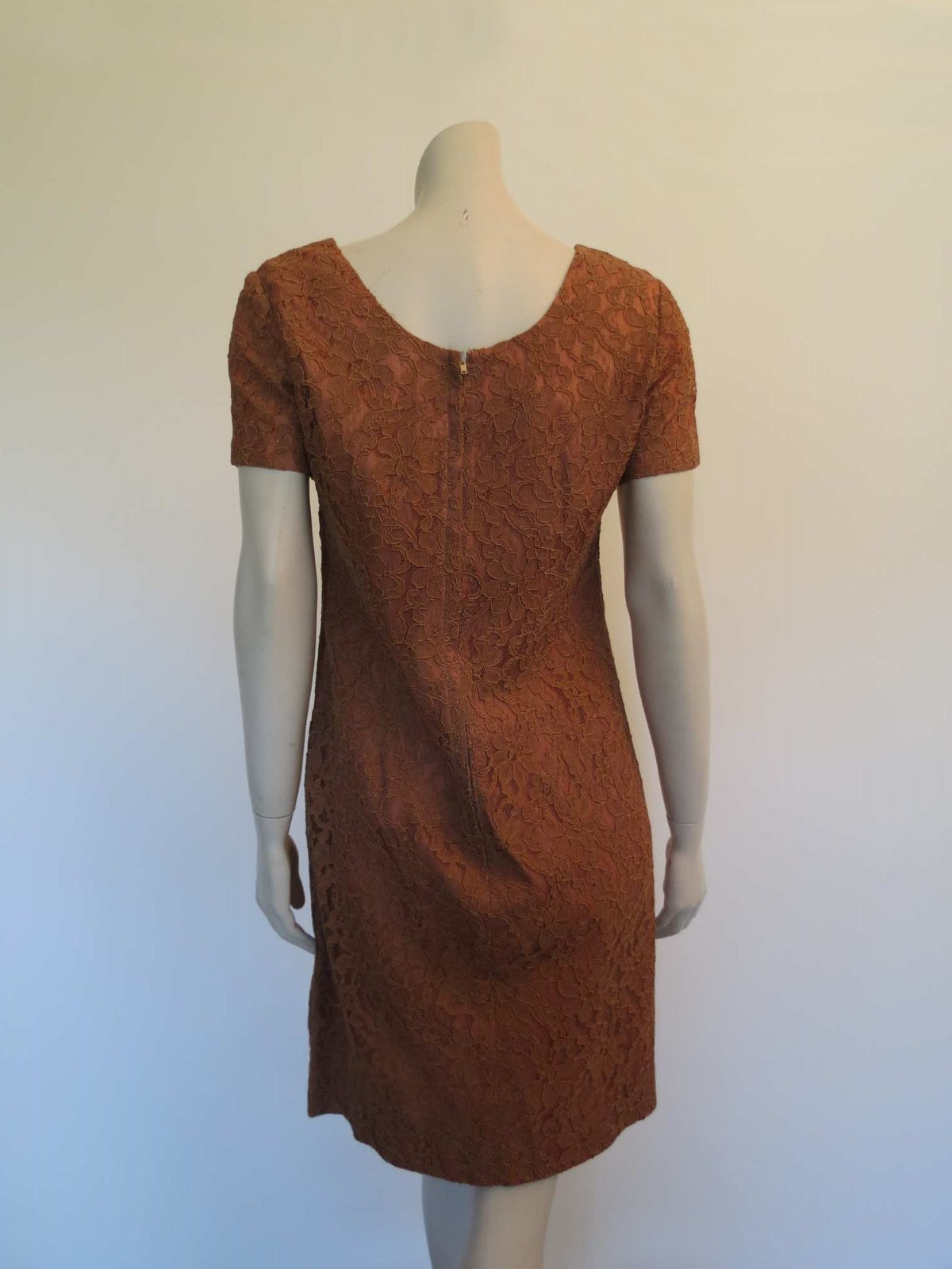 1960s vintage brown alencon lace shift dress
